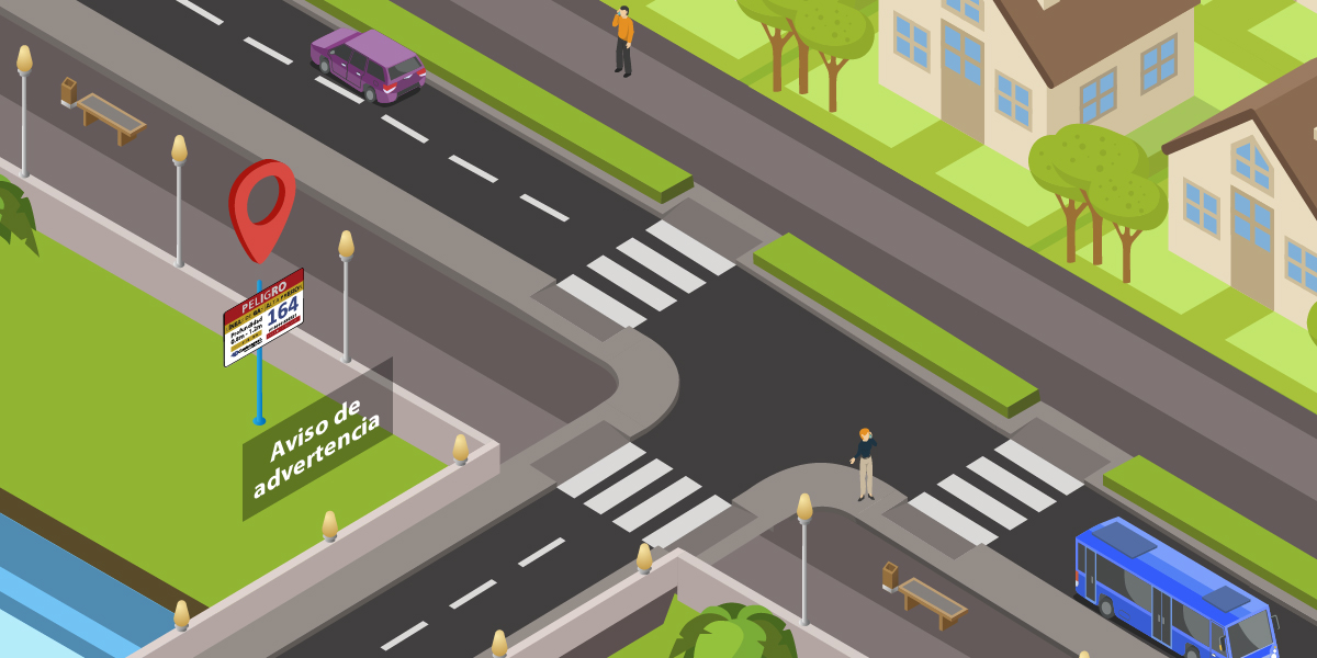 Por los avisos de advertencia de redes de distribución de gas de media o alta presión, los cuales están instalados en los costados de las vías.